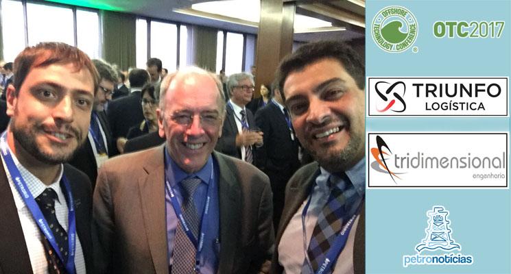 Leonardo Veloso, da Apice, Pedro Parente, da Petrobras, e outro executivo na OTC 2017 - tarja